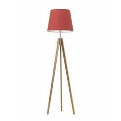 Lampa podłogowa aruba abażur czerwony stelaż dębowy - czerwony