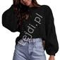 Sweter z bufiastymi rękawami z ażurowymi wstawkami