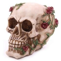 Czaszka opleciona czerwonymi różami - figurka