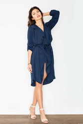 Granatowa płaszczowa sukienka z paskiem