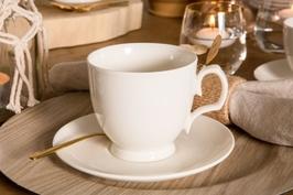 Filiżanka do cappuccino ze spodkiem porcelana mariapaula ecru 350 ml opakowanie prezentowe