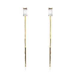 Staviori Kolczyki długie ze złota pr.0,585 na łańcuszku, 2 Diamenty, szlif bagieta