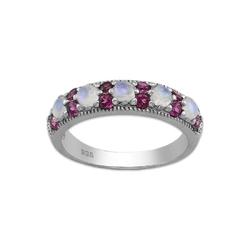 Srebrny pierścionek z kamieniem księżycowym i rodolitem - europa 17, us 8, 18 mm