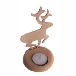 Drewniany świecznik na tea light - renifer - ren