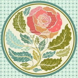 Naklejka aplikacja patch różą w ramce okrągłym