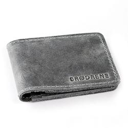 Skórzany cienki portfel slim wallet brødrene sw02 szary