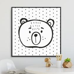 Triangle bear - plakat dla dzieci , wymiary - 20cm x 20cm, kolor ramki - biały