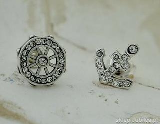 Sea ster i kotwica - srebrne kolczyki z cyrkoniami