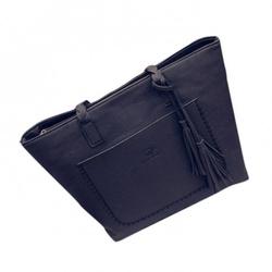 Duża torebka skórzana  frędzle czarna