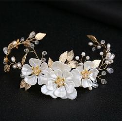 OZDOBA DO WŁOSÓW kryształki KWIATY perły ŚLUBNA - 34934
