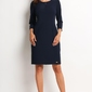 Granatowa klasyczna prosta sukienka z rękawem 34