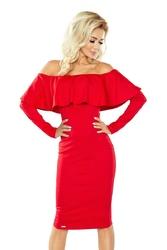 Czerwona Sukienka Bodycon z Hiszpańskim Dekoltem