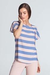 Fioletowa nowoczesna bluzka z dekoltem w łódkę