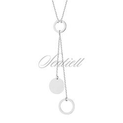 Srebrny naszyjnik pr.925 - dwa kółka pełne i puste