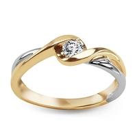 Staviori pierścionek z białego i żółtego złota. 1 diament, szlif brylantowy, masa 0,20 ct., barwa j, czystość i1. żółte, białe złoto 0,585.