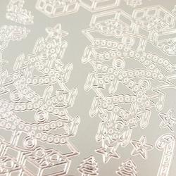 Naklejki ażurowe świąteczne srebrne 10x23cm - choinka - 1045