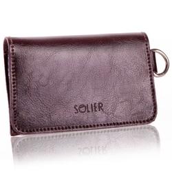 Skórzany portfel męskiwizytownik z miejscem na bilon solier sw20 ciemny brązowy - ciemny brąz