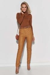 Klasyczne spodnie z imitacji skóry - karmelowe
