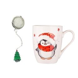 Kubek porcelanowy świąteczny  na prezent z zaparzaczem i ozdobną figurką altom design zimowy pingwinek 300 ml opakowanie prezentowe