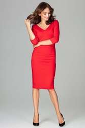 Czerwona sukienka ołówkowa z dekoltem w serek
