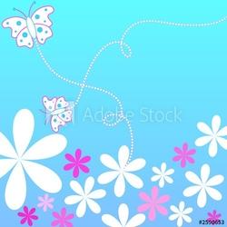 Obraz na płótnie canvas kwiaty i motyle