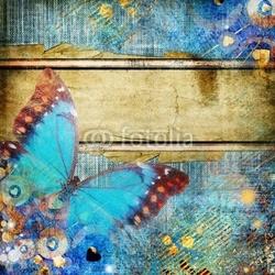 Obraz na płótnie canvas czteroczęściowy tetraptyk Abstrakcja w stylu vintage z motylem