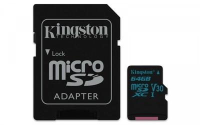 Kingston microSD  64GB Canvas Go 9045MBs UHS-I V30 + adapter