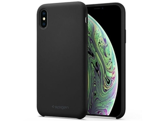 Etui spigen silicone fit apple iphone xs max black + szkło alogy