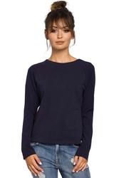 Granatowa klasyczna bluzka z długim rękawem
