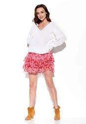 zwiewna wzorzysta mini spódnica z jedwabiem - druk 17