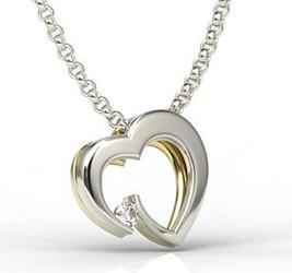 Wisiorek z białego i żółtego złota w kształcie serca z cyrkonią lpw-95bz-c