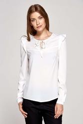 Ecru bluzka z falbankami na ramionach
