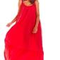 Maxi fuksja sukienka na cienkich ramiączkach z falbanką