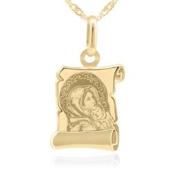 Złoty medalik z łańcuszkiem próba 585 matka boska z dzieciątkiem chrzest komunia grawer - białe z niebieską kokardką