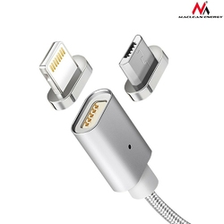 Maclean Kabel lightning USB magnetyczny silver MCE161- Quick  Fast Charge