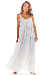 Maxi biała sukienka na cienkich ramiączkach z falbanką