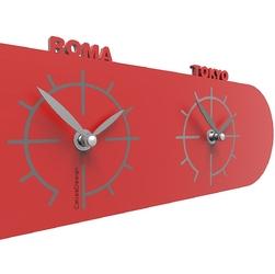 Zegar ze strefami czasowymi singapore calleadesign czerwony 12-007-64