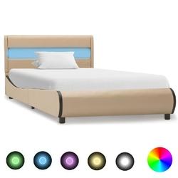 Vidaxl rama łóżka z led, cappuccino, sztuczna skóra, 100 x 200 cm