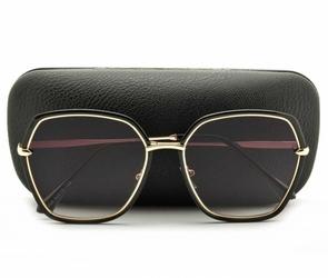Okulary przeciwsłoneczne sześciokątne damskie glam czarne  std-85