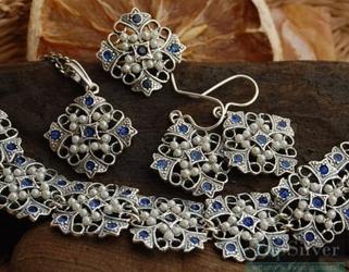 PANAMA - srebrny komplet z szafirami i perłami