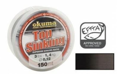 Żyłka tonąca Okuma Top Sinking 150m 0,12mm 3lb 1.4kg czarna