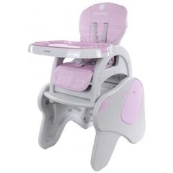 Krzesełko do karmienia 2w1 piesek beżowo - różowy