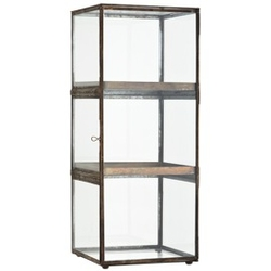 Madam stoltz :: witryna szklana z 3 półkami mosiężna wys. 64 cm