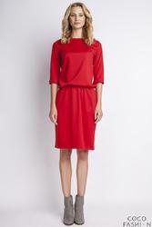 Czerwona Sukienka z Rękawem 34 i Dekoltem w Łódkę