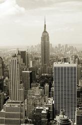 Manhattan panorama - sepia - fototapeta