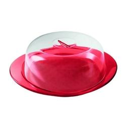 Guzzini - patera do ciasta z pokrywką i łopatką, czerwona - czerwony