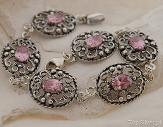 Marge - srebrna bransoletka z różowym kryształem