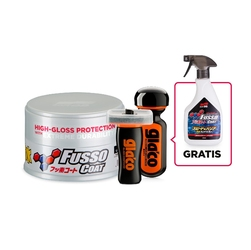 Soft99 new fusso coat 12 months light wax 200g + soft99 ultra glaco + soft99 glaco glass compound roll on + gratis soft99 fusso coat speed  barrier s