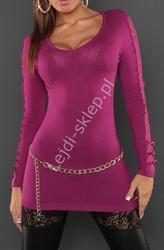 Sweter | tunika z koronka i kokardkami na rękawach, fuksja  8061