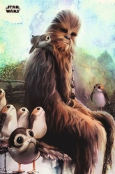 Star wars the last jedi chewbaccan porg - plakat
